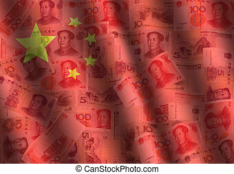 さざ波を起こされた, yuan, そして, 中国の旗