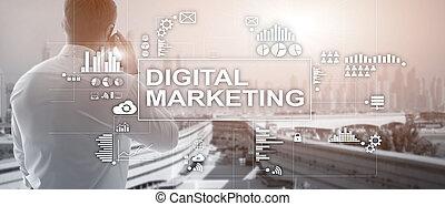 さらされること, バックグラウンド。, デジタル, ダブル, 概念, マーケティング