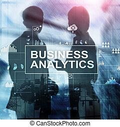 さらされること, バックグラウンド。, ビジネス, analytics, ダブル, 概念