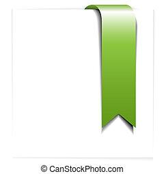 しおり, 新たに, -, 緑, リボン