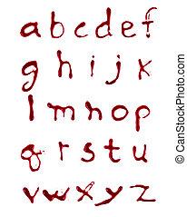 したたり, 血, 手紙, a-z, 背景, 白