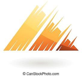 しまのある, 三角形, 抽象的, アイコン
