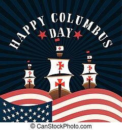 しまのある, 旗, 背景, 幸せ, 船, アメリカ, 前部, デザイン, ベクトル, 日, コロンブス