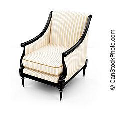 しまのある, 肘掛け椅子, に対して, 白