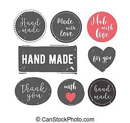 しみになる, セット, 切手, 抽象的, ハンドメイド, 手, 形, インク, handcrafted, 手ざわり, 引かれる