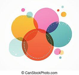 しみになる, 点, カラフルである, 切手, 抽象的, ハンドメイド, 手, 背景, インク, 引かれる
