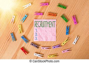 しわくちゃになった, ∥あるいは∥, 構成, 提示, recruitment., 行動, 床, ビジネス, 従業員, サポート, 木手, 概念, 可能, 有色人種, clothespin., 見つけること, 執筆, 新しい, 写真, 背景, テキスト, ペーパー, 参加しなさい
