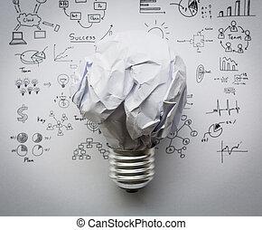 しわくちゃになった, ライト, ペーパー, グラフ, 電球, 図画