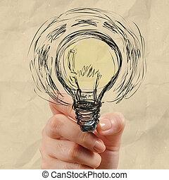 しわくちゃになった, ライト, 手, ペーパー, 電球, 図画