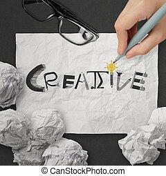 しわくちゃになった, 単語,  Conc, 創造的, ペーパー, デザイン, 手, 図画