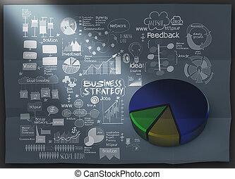 しわくちゃになった, 概念, ビジネス戦略, ペーパー, 背景, 引かれる, 手