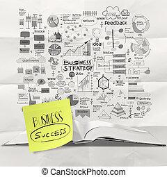 しわくちゃになった, 概念, ビジネス戦略, ペーパー, 背景, 引かれる, 手, 本