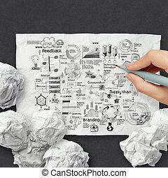 しわくちゃになった, 概念, ビジネス戦略, ペーパー, 背景, 手, 図画