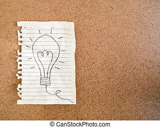 しわくちゃになった, 概念, ビジネス, ライト, -, 考え, 執筆, ペーパー, 電球, 手