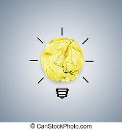 しわくちゃになった, 概念, ライト, 創造的, ペーパー, 電球