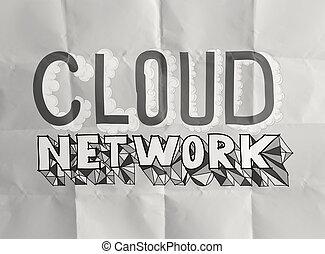 しわくちゃになった, 概念, 単語, ネットワーク, 手, ペーパー, デザイン, 引かれる, 雲