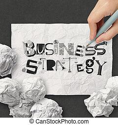 しわくちゃになった, 概念, 単語, ビジネス, 手, ペーパー, デザイン, 作戦, 図画