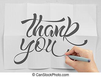 しわくちゃになった, 概念, 単語, 感謝しなさい, 手, ペーパー, デザイン, ビジネスマン, あなた, 図画