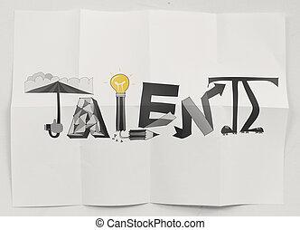 しわくちゃになった, 概念, 単語, 手, ペーパー, デザイン, 背景, 引かれる, 才能
