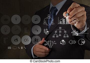しわくちゃになった, 概念, 引く, ビジネス戦略, ペーパー, 背景, リサイクルしなさい, ビジネスマン, 手