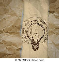 しわくちゃになった, 概念, 涙, ライト, 封筒, 創造的, ペーパー, 背景, リサイクルしなさい, 電球