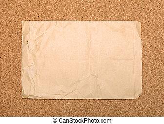 しわを寄せられた, ブラウン, 封筒, 付けられる, へ, コルク, board.