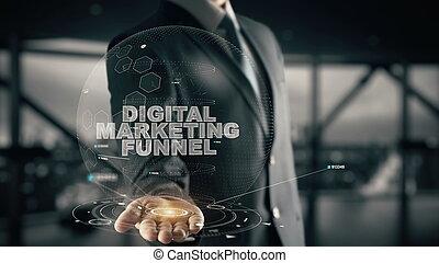 じょうご, 概念, マーケティング, デジタル, ビジネスマン, ホログラム