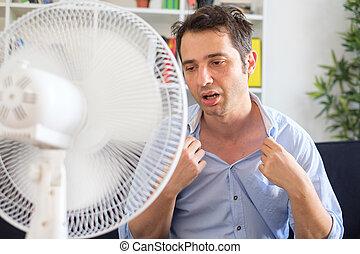 すがすがしい, 波, 電気である, に対して, 人, ファン, 夏, 熱
