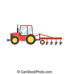 すき, 植えつけ, トラクター, イラスト, 隔離された, アイコン, 穀物, ベクトル, デザイン, 平ら, 赤い背景, 白