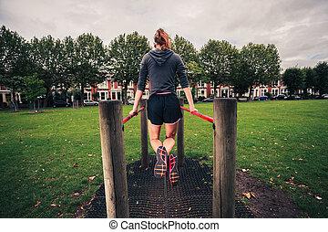 すくい, 女, 公園, 若い
