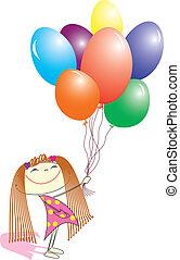 すてきである, イメージ, 女の子, balloons., ベクトル, プレゼント, 白