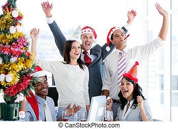 すてきである, ビジネス, 強打する, クリスマス, チーム, 祝いなさい, 空気