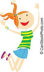 すてきである, 女の子の微笑, ベクトル, cartoons.