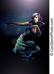 すてきである, 女の子, ダンス, 若い, 現代, ダンス