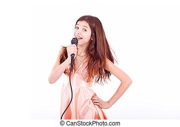 すてきである, 女の子, マイクロフォン, 歌うこと, 十代
