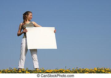 すてきである, 女の子, 保有物, ブランク, 白, ボール紙