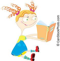 すてきである, 女の子, 赤ん坊, 読書, book., ベクトル, 白