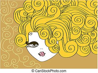 すてきである, 女の子, hair., イラスト, 巻き毛, ベクトル