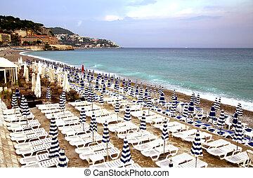 すてきである, 浜, 地中海, 陸上