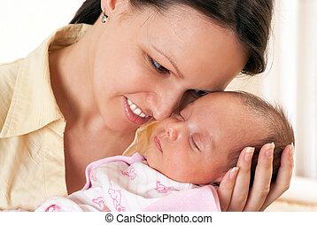 すてきである, 赤ん坊, お母さん, 手掛かり