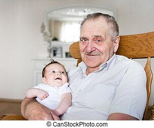 すばらしい 祖父, 新生, 保有物の赤ん坊, 肖像画, 女の子