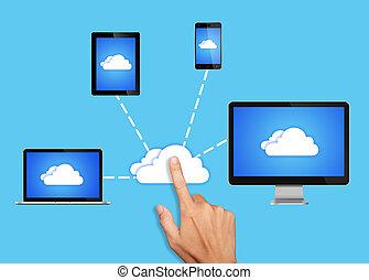 すべて, ネットワーク, 計算, 装置, 接続される, 雲