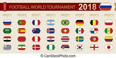 すべて, フットボール, トーナメント, 旗, 2018, 世界, participants., ロシア
