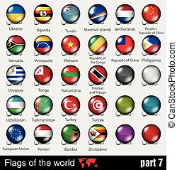 すべて, ボール, 旗, 3d, 国