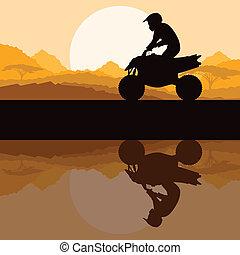 すべて, モーターバイク, 自然, 地勢, 車, 野生, クォード, ライダー