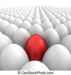 すべて, 上に, -, 1(人・つ), 単一, 卵, 赤
