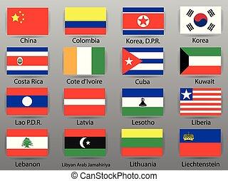 すべて, 国, 部分, 旗, 6, 世界