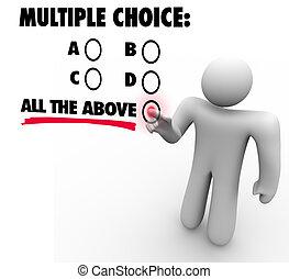 すべて, 多数, 不確実, 選択, テスト, の上, gues, 小テスト, オプション