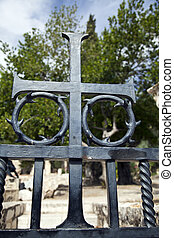 すべて, 彼の, キリスト, 修道院次長, started, どこ(で・に)か, 金属, イエス・キリスト, 装飾, crucifixion., 苦しみ, 部分, 場所, 十字架像, 背景, 教会, 門, 国, gethsemane
