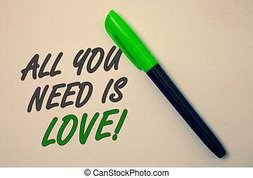 すべて, 概念, 愛, テキスト, intention., 海原, マーカー, 必要性, メッセージ, 必要性, ペン...